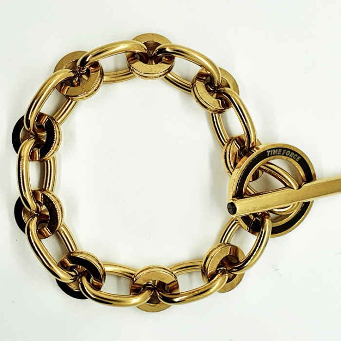 PULSERA CHAPADA EN ORO TIME FORCE